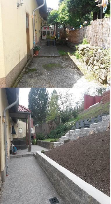 Hinterhof, Hanggrundstück, Granitmosaikpflaster, Granitblocksteinmauer