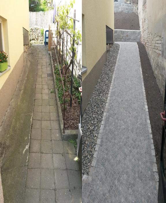 Weg aus Granitmosaikpflaster